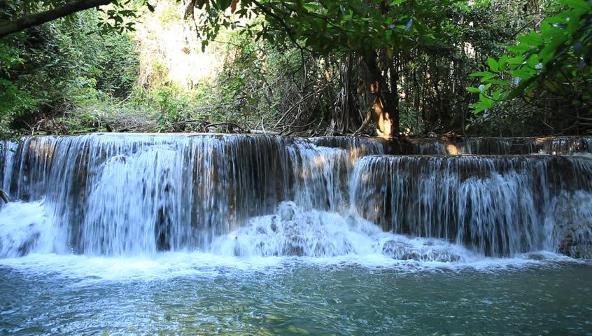 Waterfall in tropical forest in Kanchanaburi, Thailand