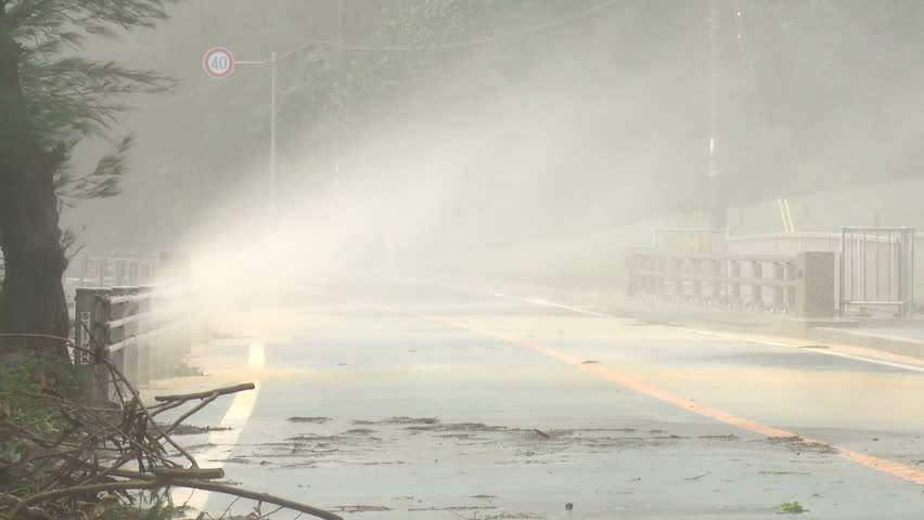 Spray Blows Over Road In Hurricane Winds - Shot in full HD 1920x1080 30p on Sony