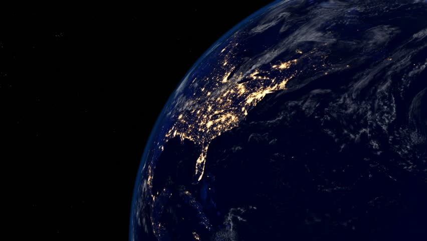 As seen from space the lights of America shine bright. - HD stock footage clip