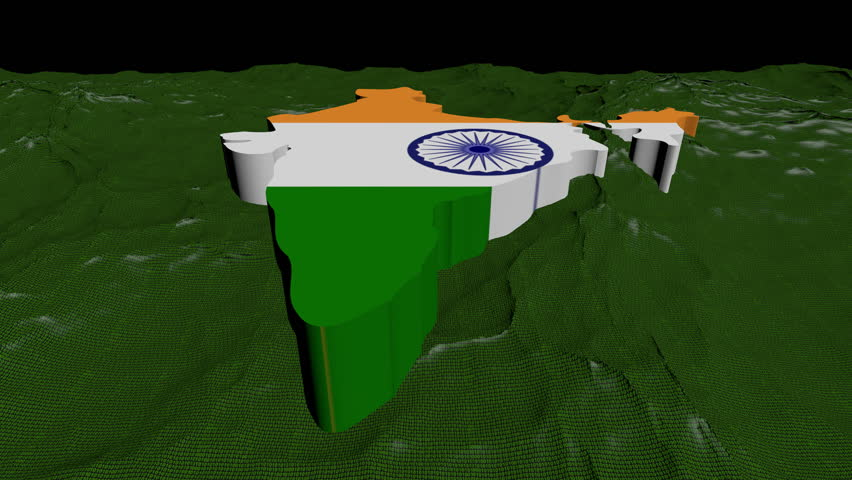 India map flag in abstract ocean of binary animation - HD stock video clip