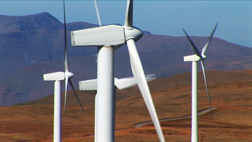 several wind turbines on mountain close up - HD stock footage clip
