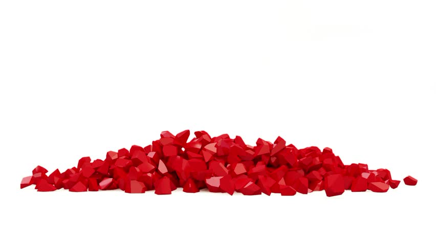 Animation of Red Heart Made From Many Small Pieces with Alpha Channel (HD)