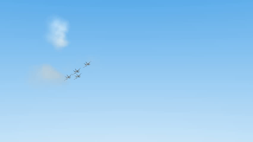 Four f18 hornets flying. 3d animation - HD stock video clip