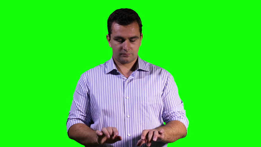 Man Virtual Project Table Touchscreen Greenscreen 