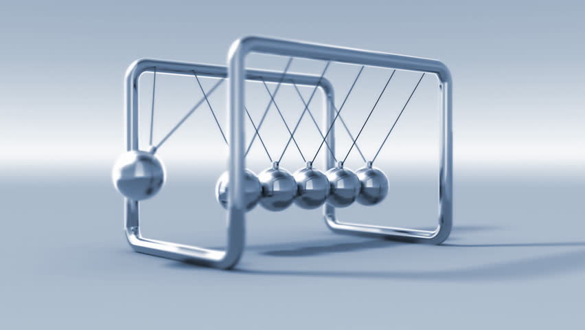 3D animated newton cradle. Perfect loop. Depth of field.