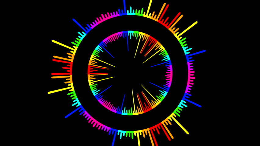 Crazy and colorful sound waves ( Series 4 - Version from 1 to 10 ) - HD stock video clip