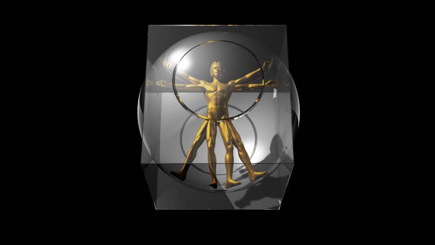 3D rotating Da Vinci man. Perfect loop. Alpha mask included.
