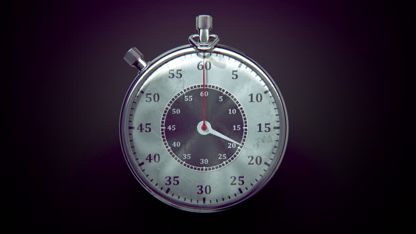 Ticking chronometer (stopwatch) with animated arrows