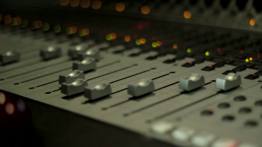 Pano Of A Audio Mixer With Motorized Faders Moving Dolly
