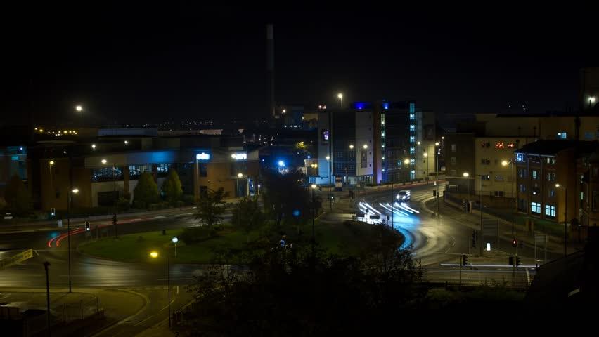 Night Traffic Roundabout Timelapse