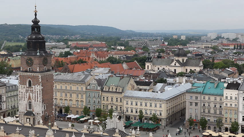 Aerial View of Krakow, Market Square, Town Hall Tower, Cloth Hall, Drapers' Hall - HD stock video clip