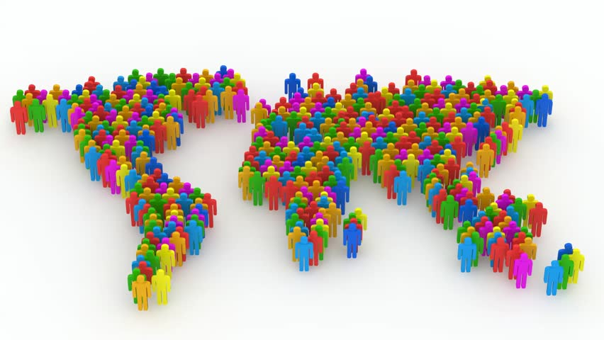 Animation of World Map Made From Colorful People with Alpha Channel. HD Video Clip