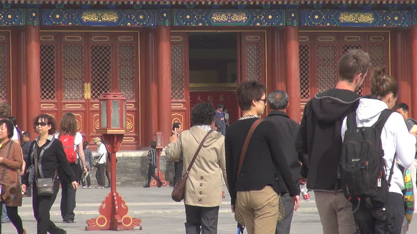 BEIJING, CHINA - APRIL 25, 2012, People visit a temple