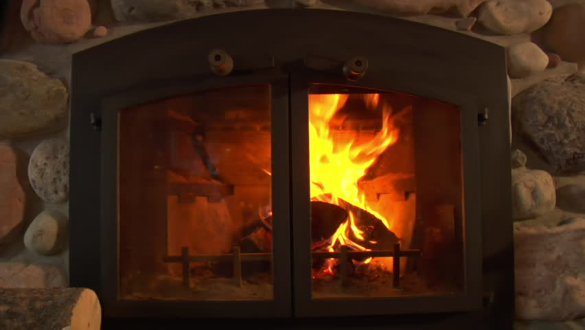 Fireplace Behind Glass Doors In Nice Home Stock Footage Video 3506330 Shutterstock