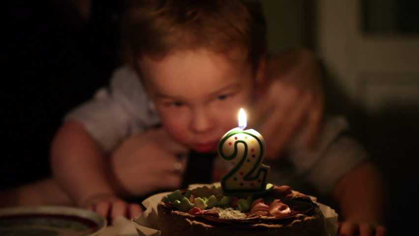 Kid's birthday. Boy blows out the candle with number 2 in the cake.