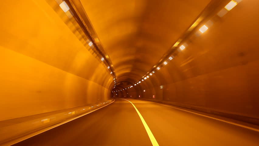 car fast in tunnel with. - HD stock footage clip