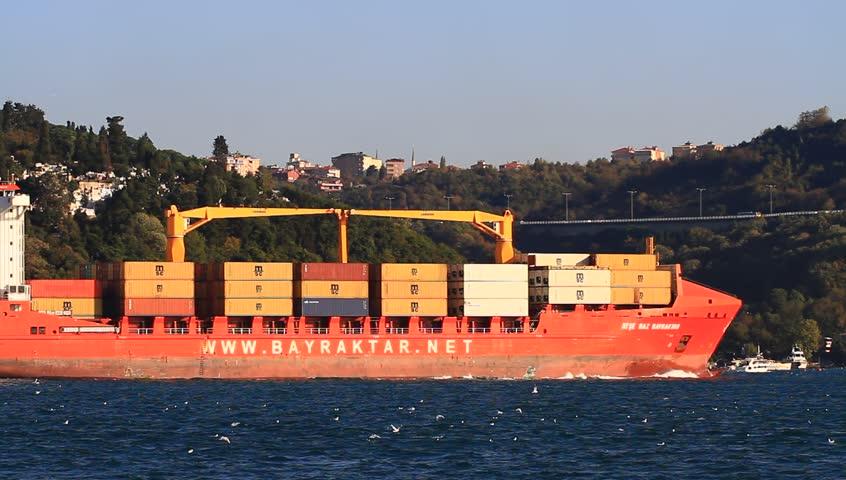Stock photo istanbul oct container ship ayse naz bayraktar imo turkey - Large Container Ship Passing Bosphorus Istanbul Turkey