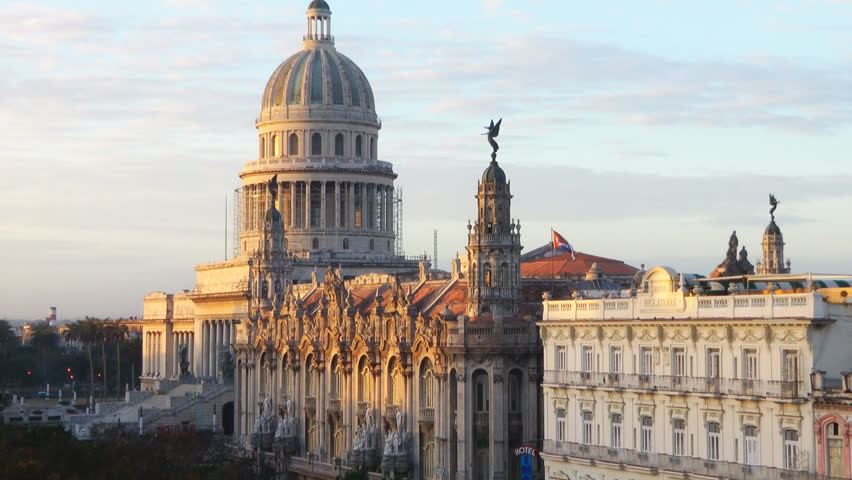 Time Lapse Sunrise In Havana Cuba Lighting The Capitolio Building And The Grand Theater Of Havana On Paseo del Prado