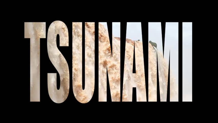 Tsunami Word In Black Background With Huge Water Flow