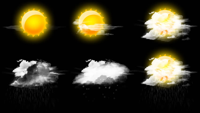 set of six weather icons with animated rain & snow