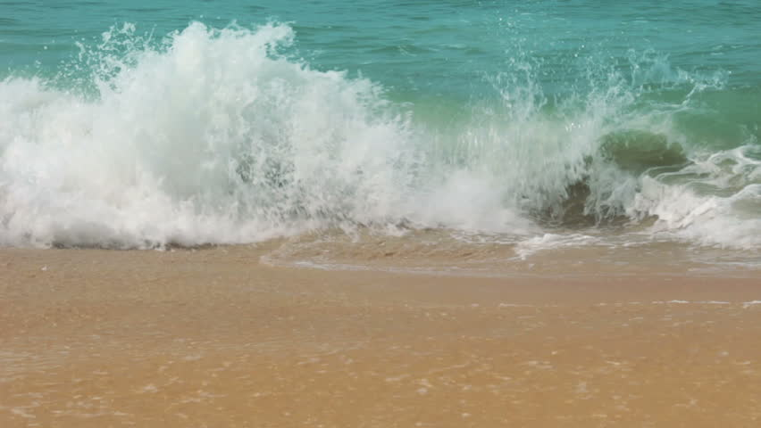 turquoise sea water waves and sand beach - HD stock footage clip