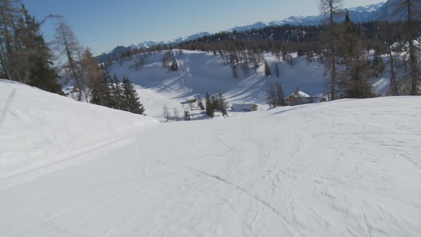cameras view on piste during skiing - HD stock footage clip