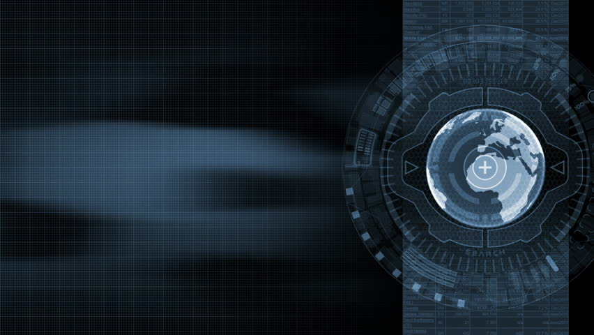 Futuristic background with 3d rotating globe and cyberspace animated elements. Seamless loop.