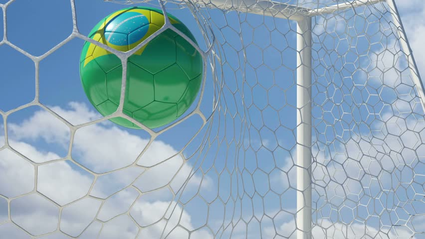 Brazilian Ball Scores in Slow Motion with Sky Background - HD stock footage clip