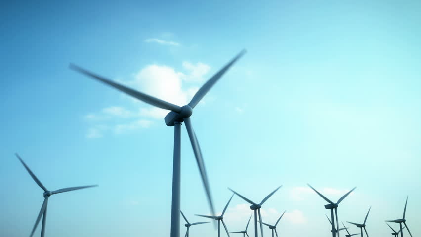 Wind energy turbines are one of the cleanest, renewable electric energy source. Electricity is generated by electric generators hidden inside turbine.  - HD stock footage clip