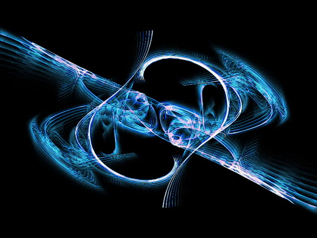 Morphing blue flame fractal animation resembling lace-like structures.  - SD stock video clip