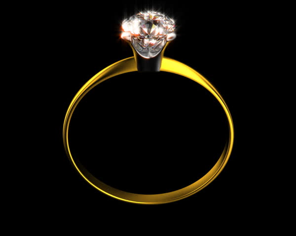 PAL Yellow gold wedding ring with diamond on top. It is seamless rotating with alpha at the end. - SD stock footage clip