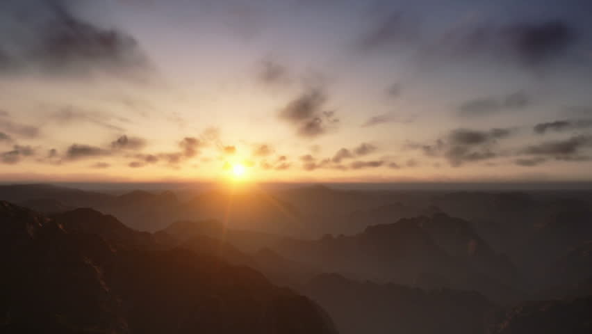 Flight over Mountains Peaks, Sunset Time Lapse - HD stock footage clip
