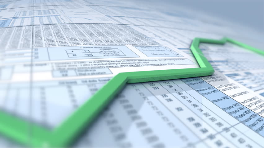 Growing chart over spreadsheet, seamless loop, HD1080p