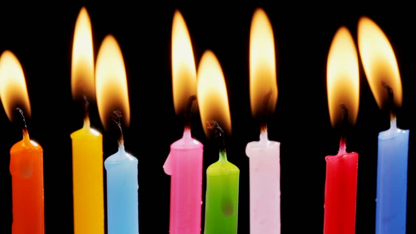 Colorful birthday candles - HD stock footage clip