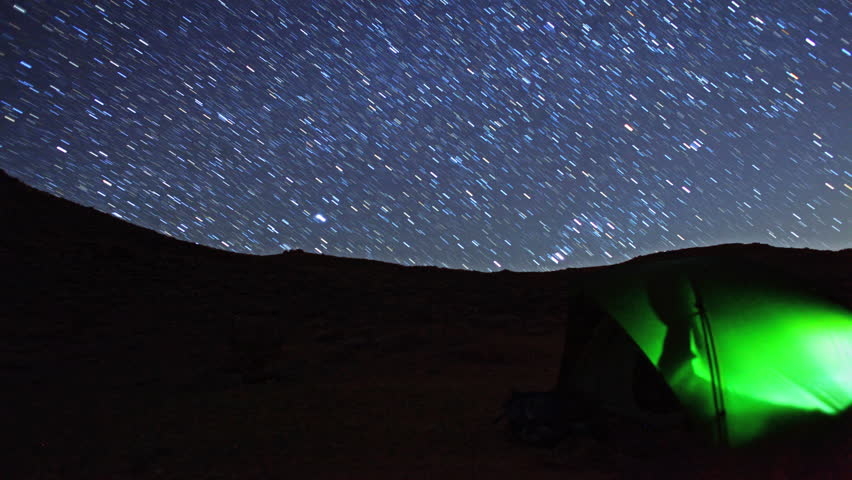 Stars Timelapse over Tent Switches to Amazing Star Trails in Death Valley National Park, California. - HD stock footage clip
