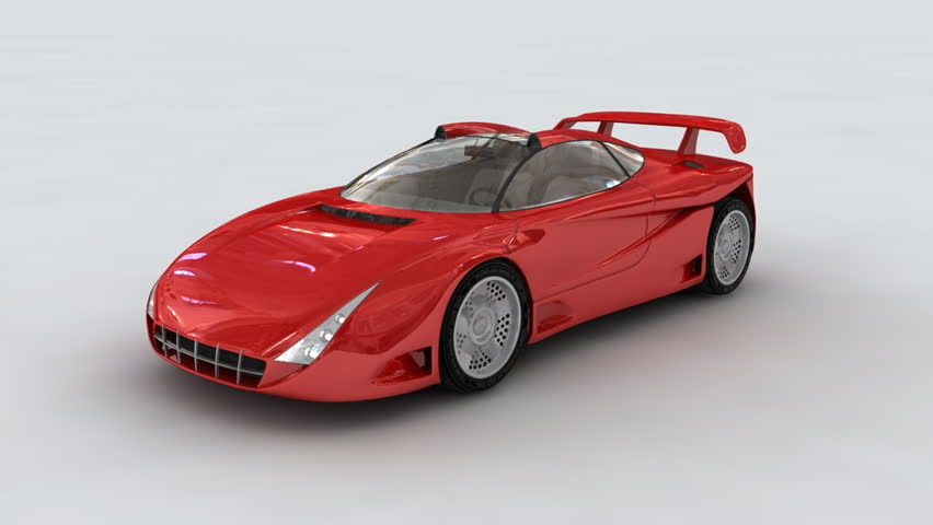 3D Red concept sports car rotating on white background in car-show setup.