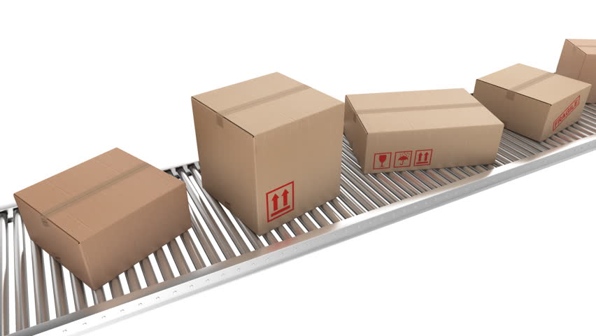 Animation of cardboard boxes on a conveyor belt, loopable. - HD stock video clip