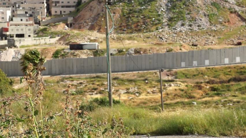 Israeli West Bank barrier- east Jerusalem separation wall - HD stock footage clip