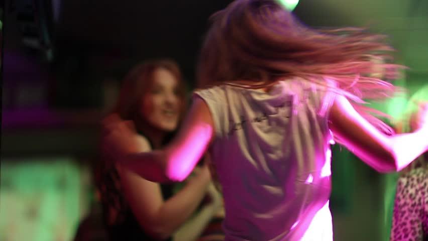 The dancing girls in a disco