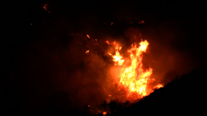 Southern California Fires at Night in a valley