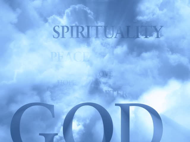 Spiritual Words in the Clouds - LOOP - 720x576 PAL - SD stock video clip