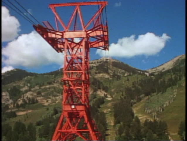 POV from tram, up over giant stanchion tower, Jackson Hole, Wyoming