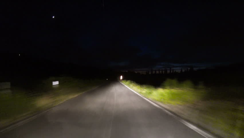 Driving on a Countryside Road at Night - HD stock footage clip