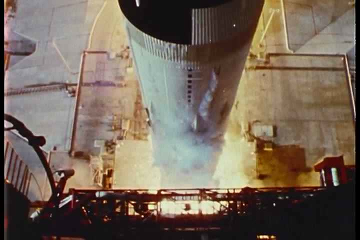 1960s - Apollo 11 lifts off from the launchpad. - SD stock video clip