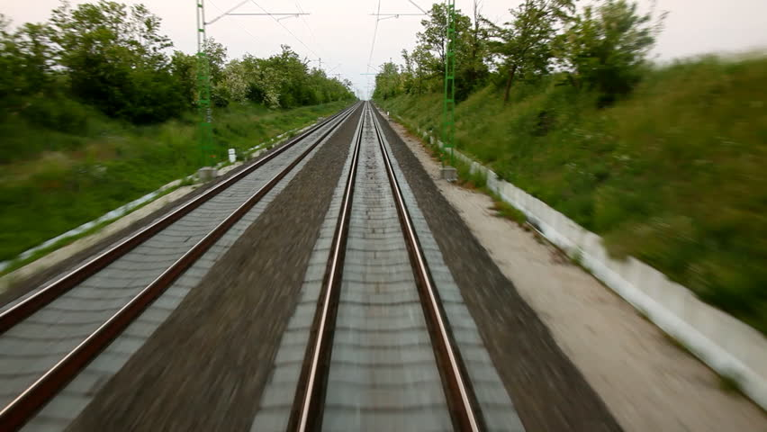 Moving train point of view footage - HD stock footage clip