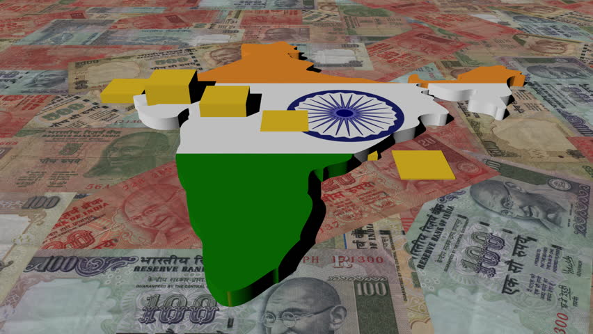 India map flag with graph on Rupees animation - HD stock footage clip
