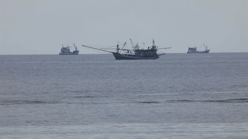 Fishing vessels in Andaman sea, Thailand. - HD stock footage clip