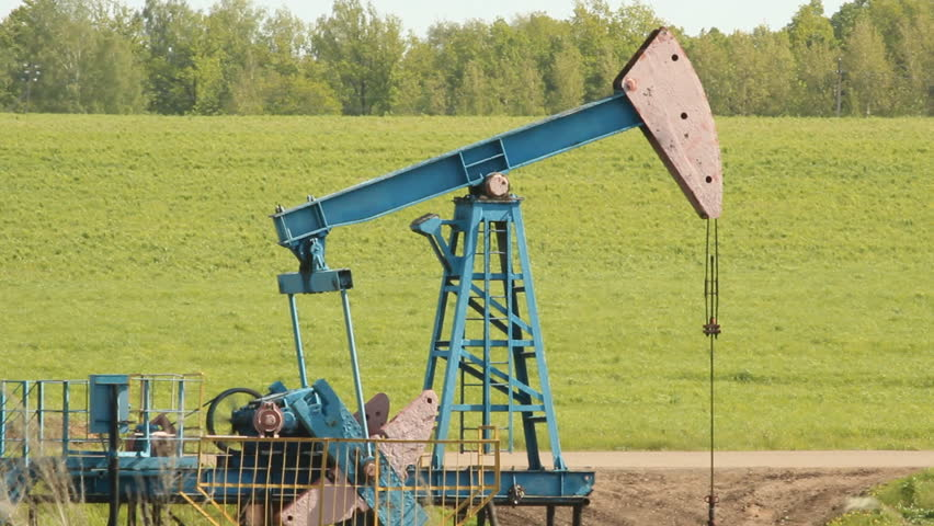 Crude oil production. oil rocking chair  - HD stock video clip