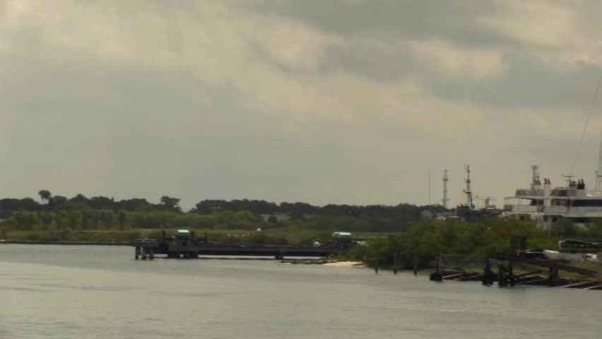 Pan shot of a shipyard in Tampa Bay. - HD stock footage clip