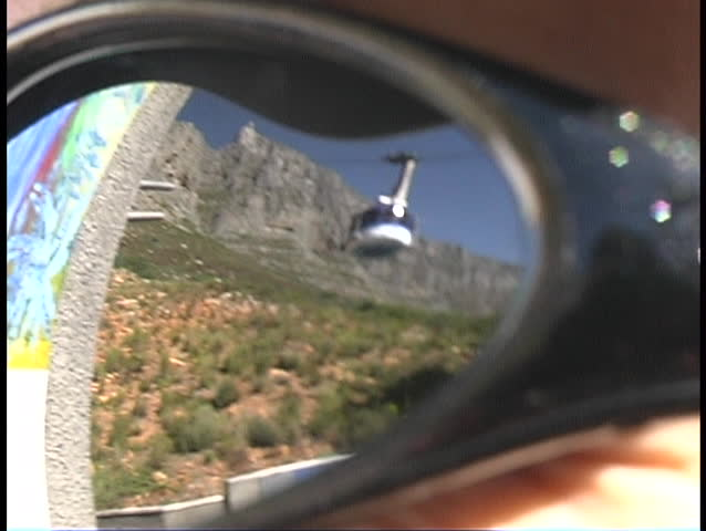 Table Mountain Cableway reflected on sunglasses. Cape town - South Africa - SD stock footage clip